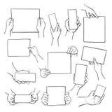 Handen die lege document bladen houden geplaatste, blanco pagina's stock illustratie