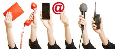 Handen die manieren van mededeling tonen royalty-vrije stock foto
