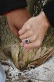 Handen die met ring houden Royalty-vrije Stock Afbeeldingen