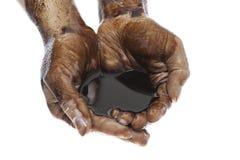 Handen die met zwarte aardolie tot een kom worden gevormd Stock Afbeelding