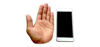 Handen die mobiele telefoons met behulp van royalty-vrije stock afbeelding