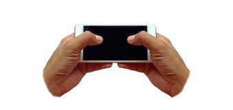 Handen die mobiele telefoons met behulp van stock foto's