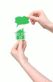Model huis en lege bellentoespraak Stock Foto's