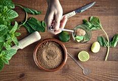 Handen die mojitococktail voorbereiden stock afbeeldingen