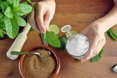 Handen die mojitococktail voorbereiden stock afbeelding