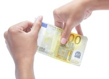 Handen die nul waarde euro nota houden Royalty-vrije Stock Foto's