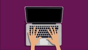 Handen die op de laptop animatie typen royalty-vrije illustratie
