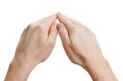 Handen die op wit worden geïsoleerdo. beschermt concept Stock Afbeelding
