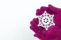Handen die roze handschoenen dragen die een grote sneeuwvlok houden. Royalty-vrije Stock Foto's