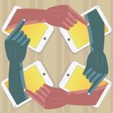 Handen die schilderen in een mobiele telefoon vector illustratie