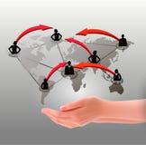 Handen die sociaal netwerk houden. Vector Royalty-vrije Stock Foto