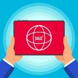 Handen die tabletapparaat met 360 graden van het hoek houden pictogram het teken op de van de het ontwerpstijl van het het scherm stock illustratie