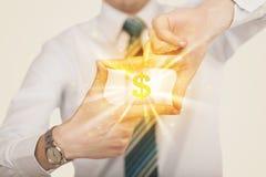 Handen die tot een vorm met dollarteken leiden Royalty-vrije Stock Afbeeldingen