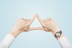 Handen die tot vorm leiden royalty-vrije stock foto's