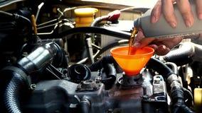 Handen die van autowerktuigkundige nieuw oliesmeermiddel gieten in motor Het concept van het autoonderhoud stock videobeelden