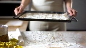 Handen die van vrouwelijke bakker dienblad met koekjes de tonen, peperkoekrecept, TV tonen stock foto