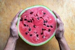 Handen die watermeloen houden Stock Afbeeldingen