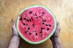 Handen die watermeloen houden Royalty-vrije Stock Foto's