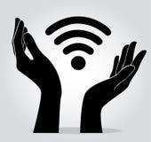 Handen die Wifi-de vector van het pictogramsymbool houden Royalty-vrije Stock Afbeeldingen