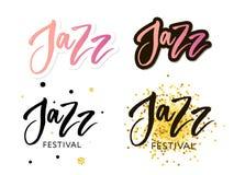 Handen dragen bokstäver citerar om samlingar för jazzfestivalen som isoleras på den vita bakgrunden Rolig borstefärgpulvervektor vektor illustrationer