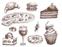 Handen dragen mat skissar för menyrestaurangprodukt och klottrar illustrationen för målkokkonstvektorn vektor illustrationer