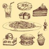 Handen dragen mat skissar för menyrestaurangprodukt och klottrar illustrationen för målkokkonstvektorn stock illustrationer