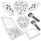 Handen dragen pizza skivar vektoruppsättningen Pizzaetiketter, tecken, symboler, symboler och designbeståndsdelar Royaltyfri Bild