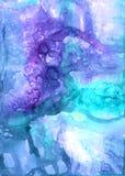 Handen dragit abstrakt eteriskt konstverk i akryl målar stil med fläckar, skyler och bubblor royaltyfri illustrationer
