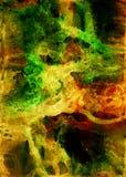 Handen dragit abstrakt eteriskt konstverk i akryl och vattenfärg målar stil med fläckar, skyler och bubblor royaltyfri illustrationer