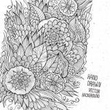 Handen dragit blom- skissar bakgrund Arkivfoton