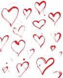Handen dragit färgpulver plaskar hjärtavektorn Royaltyfri Bild