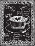 Handen dragit kaffe skissar på en svart svart tavla Arkivbilder