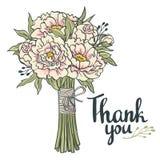 Handen dragit trädgårds- blom- tackar dig att card Hand dragen tappningcollageram med pioner Arkivfoton