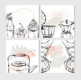 Handen dragit vektorabstrakt begrepp texturerade mallen för matkortdesignen med grafisk mat och kökillustrationen för recept vektor illustrationer
