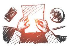 Handen drog affärsmannen räcker danandeanmärkningar på papper royaltyfri illustrationer