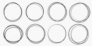 Handen drog cirkellinjen skissar det fastställda vektorcirkuläret klottrar klotterrundacirklar