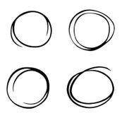Handen drog cirkeln skissar uppsättningklotter Blyertspennalinje vektor Handen drog cirkellinjen skissar uppsättningen Vektorcirk Royaltyfri Bild