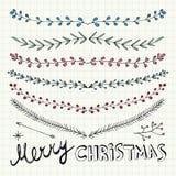 Handen drog dekorativa beståndsdelar för jul, klottrar och gränsar vektor illustrationer