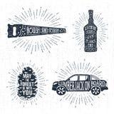 Handen drog emblem ställde in med såg, whiskyflaskan, kotten för granträd och pickupillustrationer vektor illustrationer