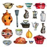 Handen drog färguppsättningen av isolerad köktillbehör bowlar, ket vektor illustrationer