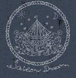 Handen drog fartyget i havet vinkar illustrationen Arkivfoto