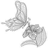 Handen drog flygfjärilen och Hibiskus för zentangle stam- blommar stock illustrationer