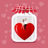 Handen drog illustrationen av en murarekrus med två hjärtor kopplar ihop, att gifta sig och den romanska illustrationen på rosa b Arkivfoto