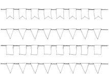 Handen drog klotterbuntingbaner ställde in för garnering Klotterbaneruppsättningen, bunting flaggor, gräns skissar dekorativa ele Arkivbilder