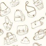 Handen drog klottret skissar sömlösa modellpåsar för illustrationen - bagage för lopp, resväskan, fallet, handväska, Royaltyfri Foto