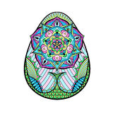 Handen drog konstnärliga färgpåskägget stiliserade i zentanglestil Royaltyfri Bild