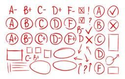 Handen drog kvaliteten resulterar, uppsättningen för kontrollfläckar av symboler Skola utbildning, affärssymbol Examen undersökni vektor illustrationer