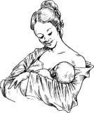 Handen drog kvinnan som kramar och matar som är din, behandla som ett barn royaltyfri illustrationer