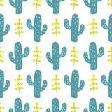 Handen drog lösa kaktuns blommar den sömlösa modellen Royaltyfri Fotografi