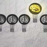 Handen drog luftballonger med 3d belägger med metall hjärnan Arkivbilder